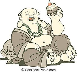 buddha, com, cupcake
