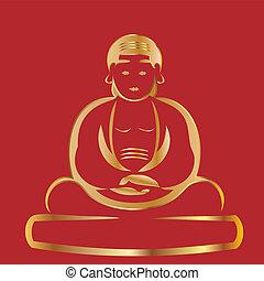 buddha, com, experiência vermelha