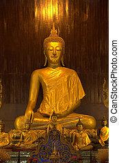 buddha, dorado, estatua
