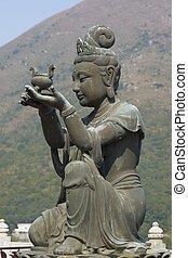 buddha, estatua, en, po, lin, monasterio