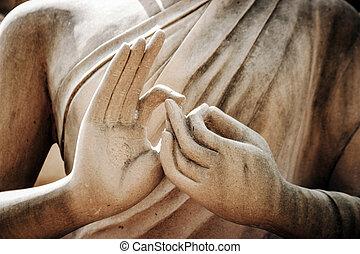 buddha, estatua, encima de cierre, mano
