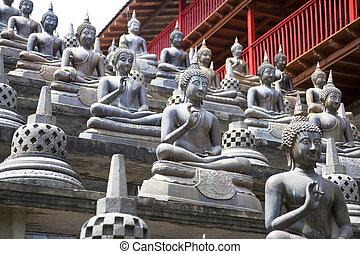 buddha, estatuas, templo, gangaramaya