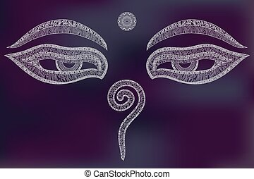 Buddha eyes, symbol of wisdom