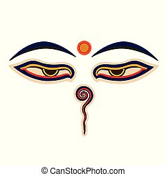 Buddha eyes and Buddhist belives grand vector illustration.