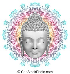 Buddha face and round color mandala pattern