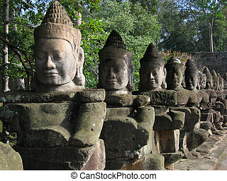 Buddha Face Sculptures, Cambodia - Part of an ancient ruin...