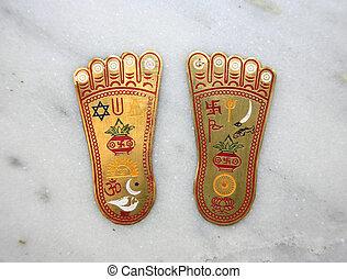 buddha feet - Buddha\'s two feet representing the...