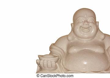Buddha figurines on a white background.