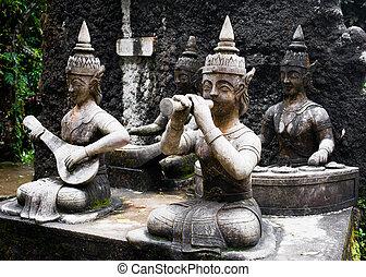 buddha, gafden, magia, detalle, arquitectura