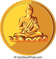 Illustration of a gold coin medallion showing silhouette of Gautama Buddha, Siddh?rtha Gautama, Shakyamuni Buddha in lotus position viewed from front done in retro style.