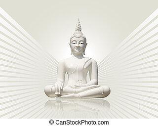 Buddha, grey white rays background - White buddha statue,...