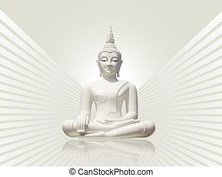 White buddha statue, isolated including clipping path against light grey rays background.