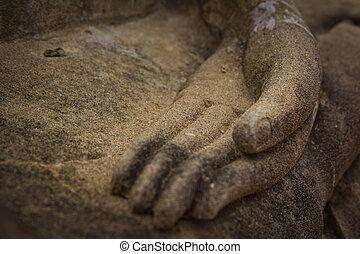 Buddha hand Buddhism in Ayutthaya Thailand