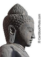 Buddha Head Sculpture - Isolated closeup of Buddha statue...