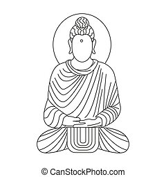 buddha icon, outline style