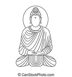 buddha icon, outline style