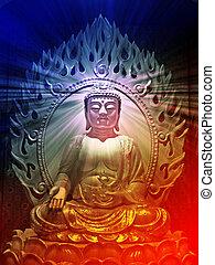 Buddha illustration - Buddha religious illustration with...