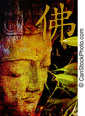 Buddha Illustration - Buddha statue with chinese symbol for...