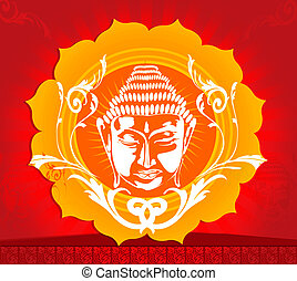 Buddha - Illustration of face of Buddha in floral background...