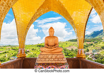 Buddha image and blue sky, Phasornkaew Temple ,that place ...