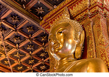 Buddha Image of Wat Phu Mintr, Nan province, Thailand : In Thailand Buddha image are public domain, no artist name or any copy right appear on the image