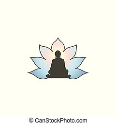 Buddha in meditation silhouette with Lotus flower background.