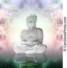 Buddha in peaceful meditation - White statue of Buddha in...