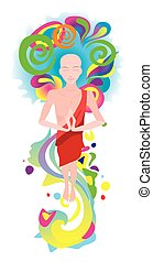 Buddha in the colored energy flows - Buddha costs in the...