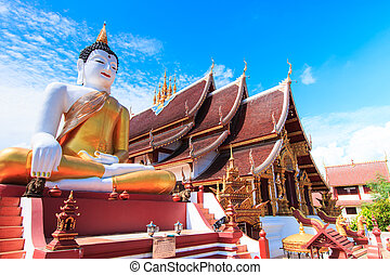 Buddha in Wat Rajamontean Temple of Chiang mai Province Asia...