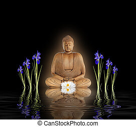 Buddha in Zen Garden - Zen abstract of a buddha with a...