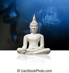 Buddha, isolated (clipping path) - White buddha statue,...