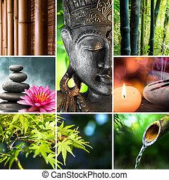 buddha, kultur, orientalisk, mosaik, -
