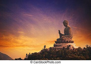 buddha, lantau, bronceado, tian, (hong, island), kong