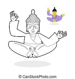 buddha, libro, estado, enlightenment., dios, sentado, book., pose., indio, meditating., colorido, childrens, fondo., nirvana, loto, blanco
