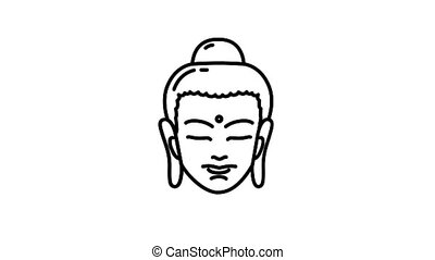 Buddha line icon is one of the Healthy Lifestyle icon set. File contains alpha channel. From 2 to 6 seconds - loop.