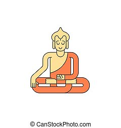 Buddha linear style. Buddhist statue. Meditation and enlightenment.