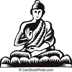 Illustration of a Gautama Buddha, Siddh?rtha Gautama, Shakyamuni Buddha in lotus position viewed from front set on isolated white background done in retro woodcut style.