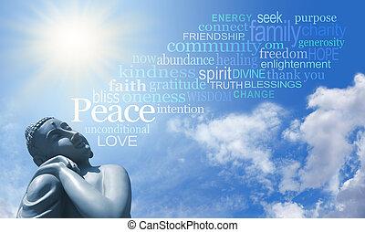 Buddha Meditating - Blue sky and bright sunburst with Buddha...