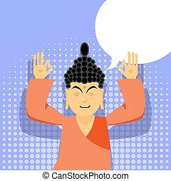 Buddha meditating. Buddha in pop art style. Indian god...