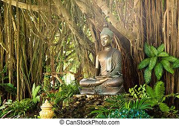 buddha, natureza, thailand., estátua