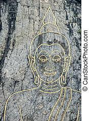 Buddha on stone wall.
