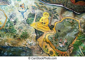 Buddha on the ceiling of cave Mulkirigala