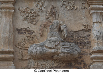 Buddha on the wall of the temple