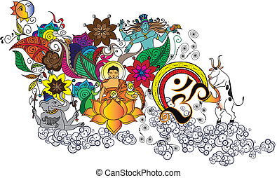 Buddha party - vector illustration, can be change to any...