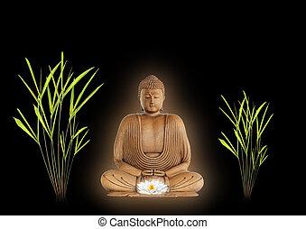 Buddha Peace - Buddha with golden aura in prayer holding a...