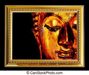 buddha, rosto, em, ouro, frame.