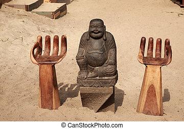 Buddha sat in the sand, Skiathos