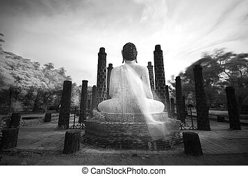 Buddha sculpture in Black and white, shooting Near Infrared...