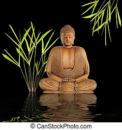 Zen abstract of a buddha in prayer in a garden with bamboo leaf grass with reflection over rippled gray water. Against black background.