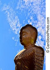 buddha, silhouette, auf, blaues, sky.